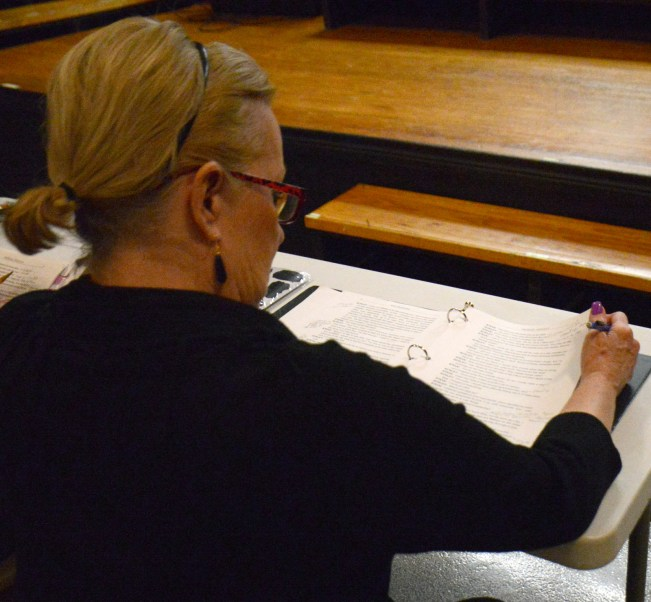 Assistant Director Linda Lowrance during a scene read through.