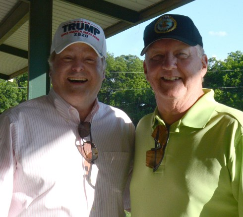 Texas Senator Brian Birdwell with Vietnam Veteran and former Bosque County Chief Deputy Bob Flood at the Bosque County Republican Club Party in the Park event June 16.