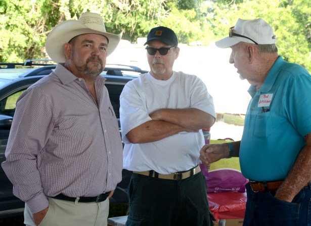 "Candidate Trace Hendricks discusses issues at the Bosque County Republican Party's pre-runoff election ""Party In The Park"" at the Bosque Bottoms Pavilion June 16."
