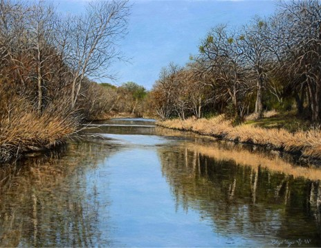 Moment to Reflect by local artist Lloyd Voges is one of the selected art works in the Oil/Acrylic division for the 2020 Bosque Arts Center Art Classic.