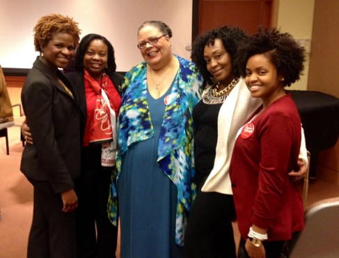Keynote speaker Karen Lewis with members of Delta Sigma Theta Sorority, Inc.