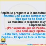 Pepito pregunta a la maestra en la escuela
