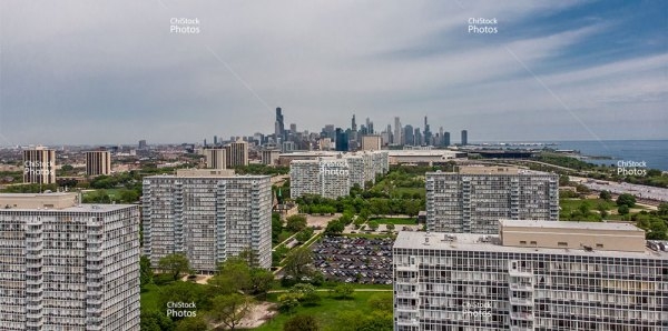 Above Lake Meadows Apartments With Chicago Skyline In The Background