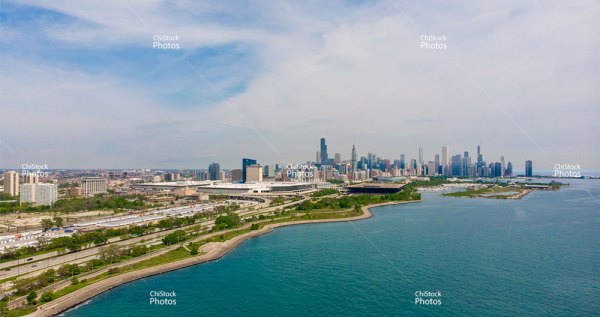 Chicago Skyline From Above Margaret T Burroughs Beach and Park