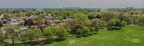 Chicago Skyline From Above Oriole Park Norwood Park