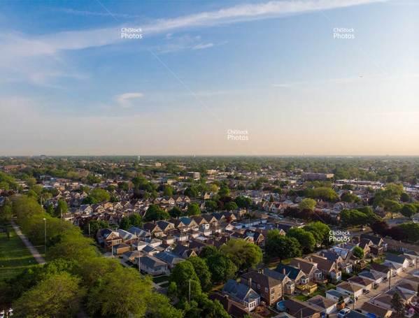 View Above Schorsch Village Dunning Chicago During a Summer Sunset