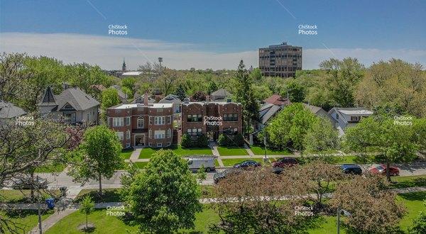 Aerial view of Jefferson Park Veterans Square Building Above Treeline