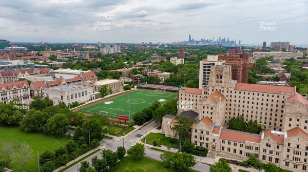 The University of Chicago Hyde Park With Chicago Skyline Background
