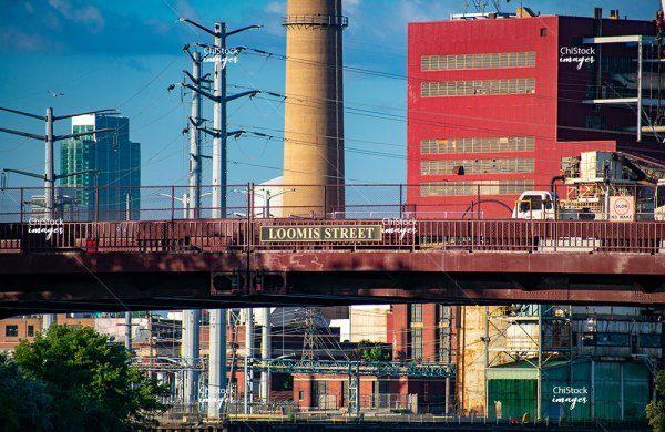 Fisk Generating Station Seen From Bridgeport Over The Chicago River