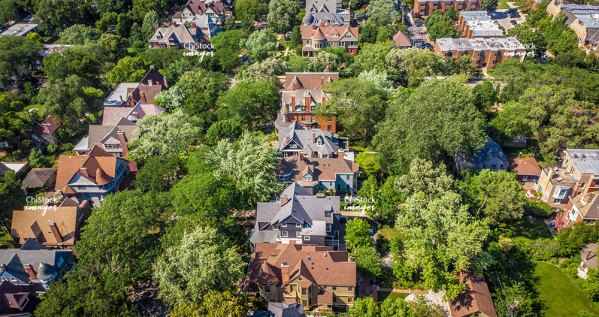 Aerial View Of Kenwood Chicago Historic Architecture