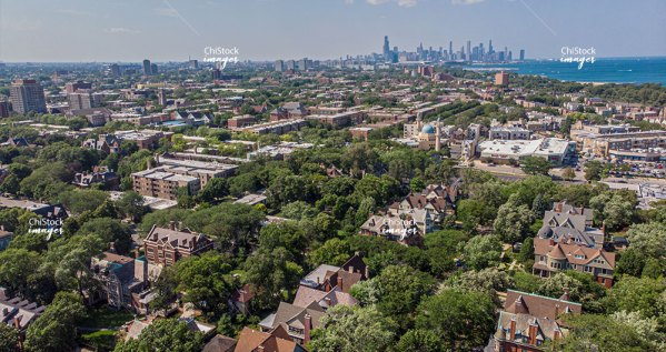 Aerial View Of Kenwood Chicago Historic Architecture Skyline in Background