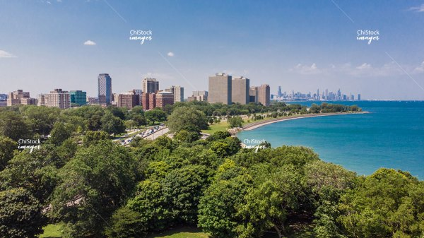 View Of Kenwood From Promontory Point Hyde Park Chicago
