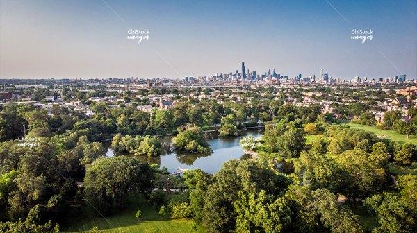 McKinley Park Lagoon With Chicago Skyline In Background