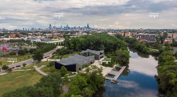 WMS Boathouse at Clark Park North Branch Chicago River North Center Aerial