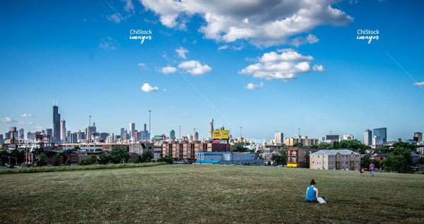 Skyline View From The Henry C-Palmisano Nature Park Bridgeport Chicago