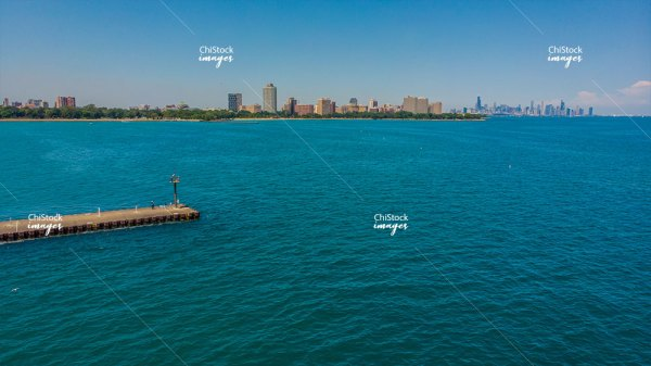 Woodlawn Pier Lake Michigan Downtown Chicago In The Background