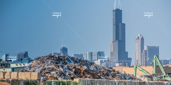Scrapyard on Chicago River Lower West Side Chicago