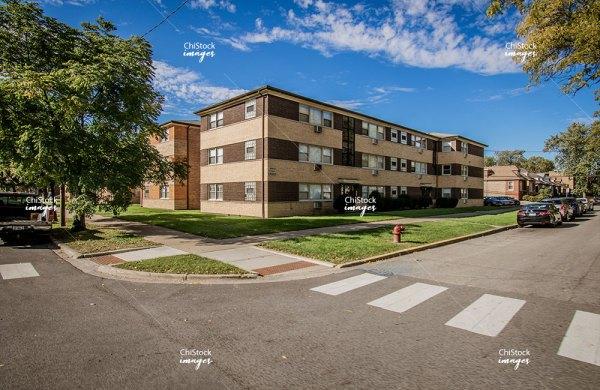 Three-Flat homes on a side street in Auburn Gresham neighborhood of Chicago