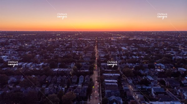 Aerial Drone Sunset View above Logan Square Chicago