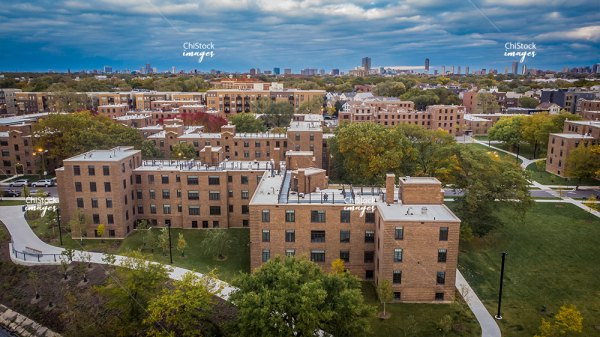 Aerial Drone View of the Lathrop Homes North Center Chicago