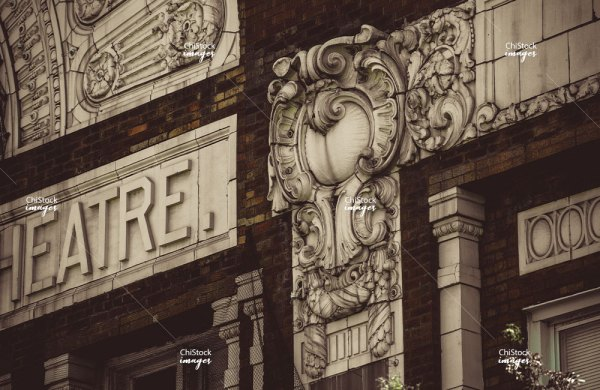 Closeup of architectural detail on the Portage Theater in Portage Park Chicago