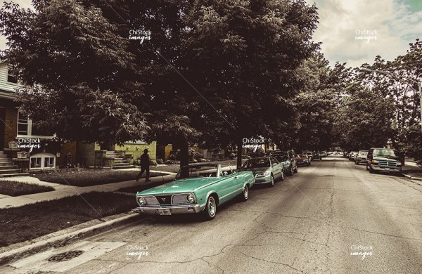 Classic Car on a side street in Portage Park Chicago