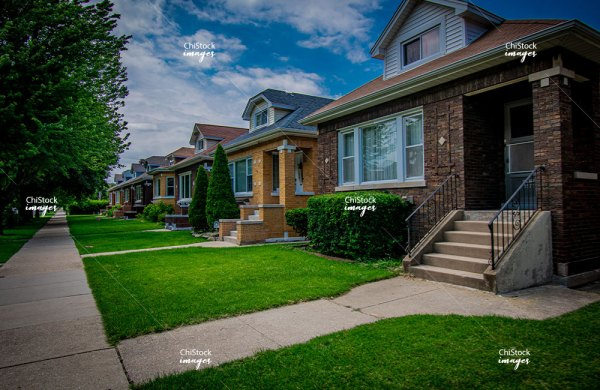 Row of Bungalows in Portage Park Chicago