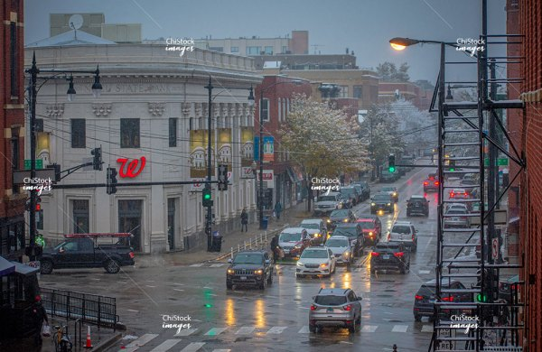Milwaukee North Ave Damen Intersection West Town Chicago