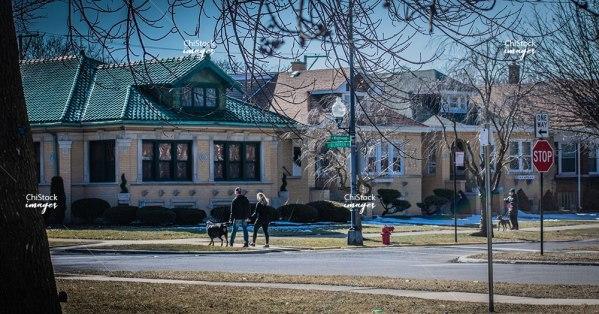 Neighbors Walking A Dog in Belmont Cragin Chicago