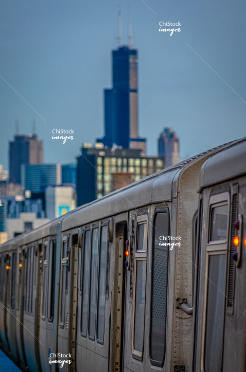 CTA Blue Line Train at West Town Damen Stop with Chicago Skyline in the Background