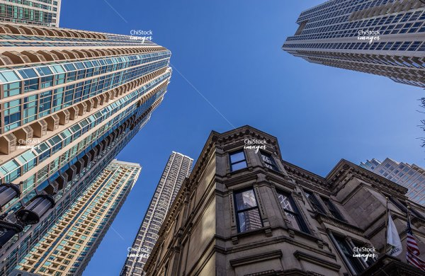 Looking Up at Architecture in the Gold Coast Near North Side Chicago