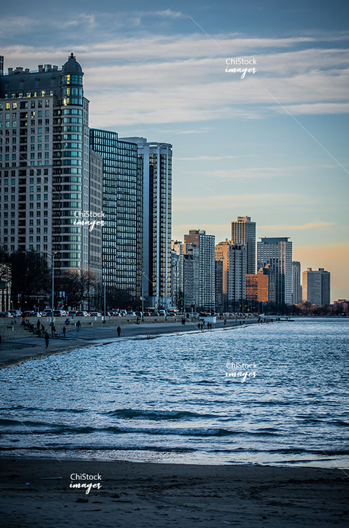 Evening at the Lake Front Trail Near North Side Chicago