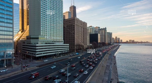 Aerial View of Lake Shore Drive Near North Side Chicago