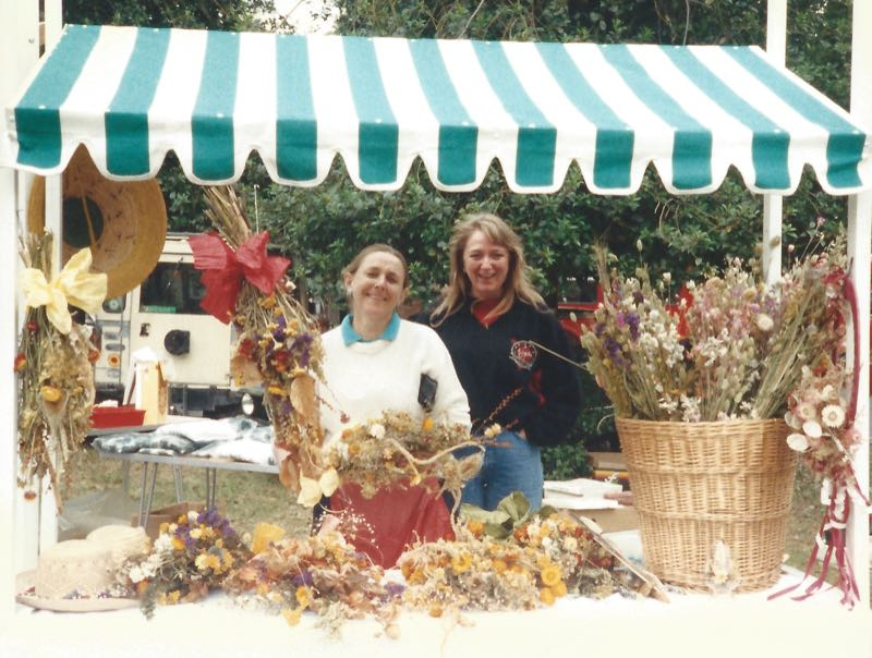 50 years of Green Days 1980s dry flower stall Sue Porter