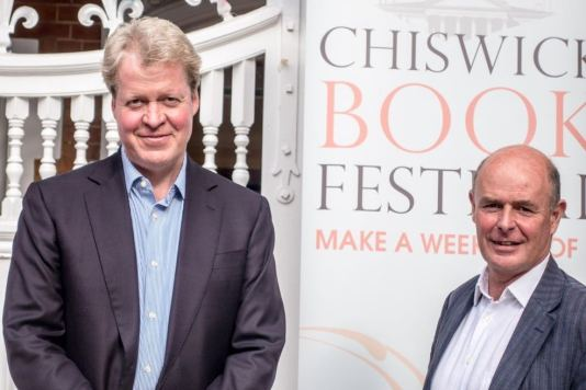 Torin Douglas MBE with Charles Spencer, 9th Earl Spencer at the Chiswick Book Festival