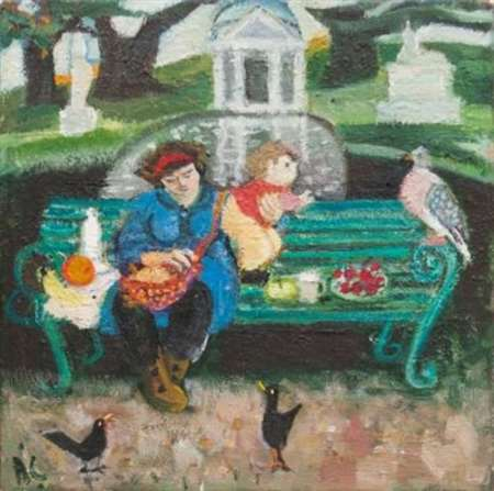 2015 Artists at Home Anthea Craigmyle 1, Mother and child with birds, Chiswick Park
