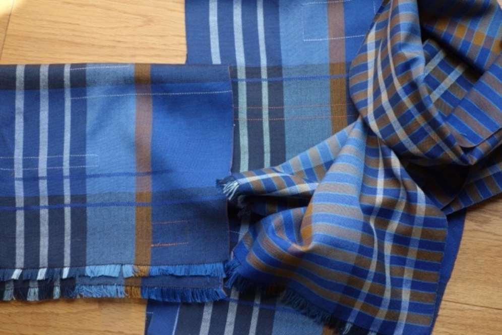 2016 Artists at Home Bobbie Kociejowski, 3 flat weave silk scarves (blues)