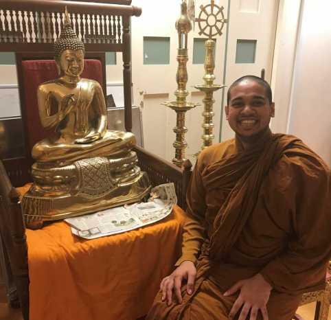 Bhante with Buddha statue, web