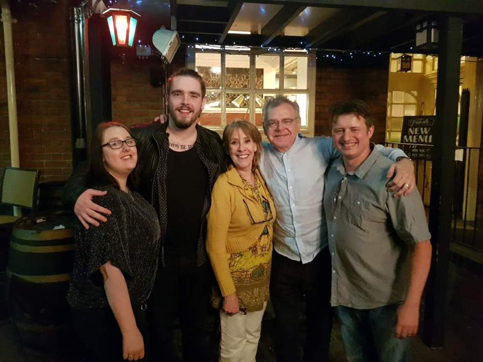 Simon and Sandra with Phyllis Logan, Kevin and David McNally - web