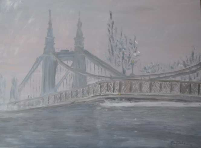 'Hammersmith Bridge in the Snow' by Natalia Bobrova