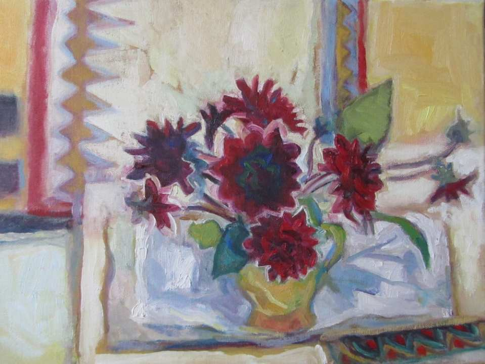Isobel Johnstone Indian dahlias, 2017, oil on canvas 30x40cm