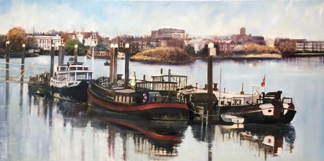 'Boats Moored at Chiswick Pier' by Arabella Harcourt-Cooze