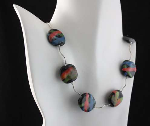 Necklace made with handmade ceramic and silver by Felicity Gail