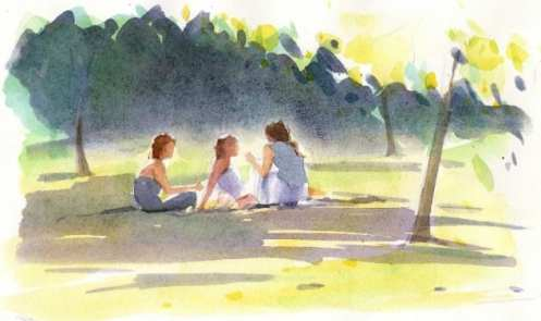 Little Group in Park by Christine Berrington