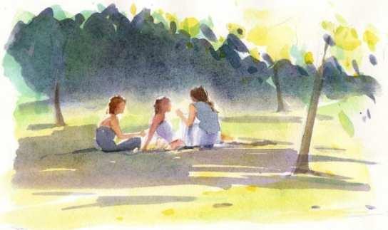 Little Group in Park by Christine Berrington