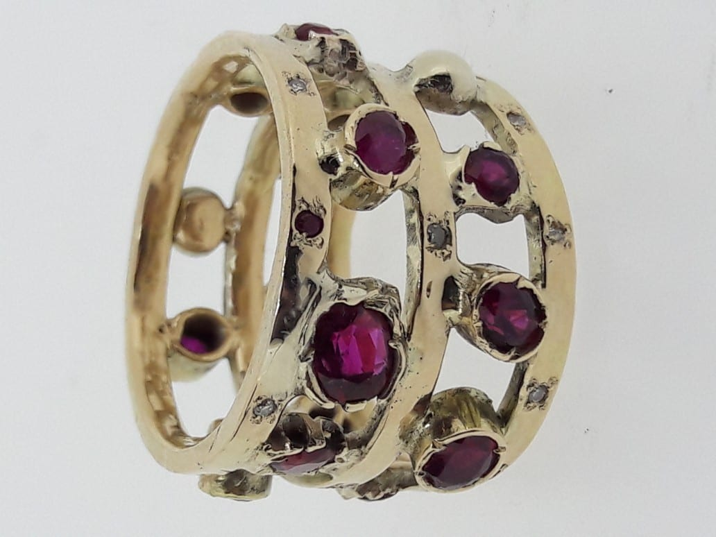 Upcycled Ruby and Gold Ring by Shelley Thomas