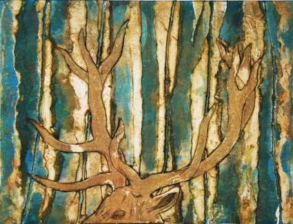 Acteon, collagraph, 44 x 52 cms framed) edition of 3 by Sally Grumbridge