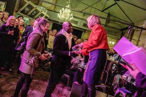Ruth Cadbury MP awarding James Narh an 'Order of the Chiswick Empire'