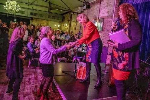 Ruth Cadbury MP awarding Karen Liebreich MBE & Sarah Cruz of Abundance London 'Orders of the Chiswick Empire'