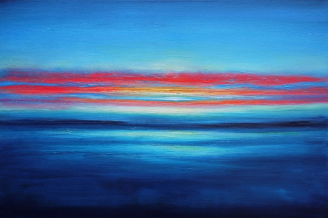Julia Everett crimson clouds and golden dawns painting